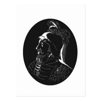 Vasco Nunez de Balboa Conquistador Woodcut Postcard