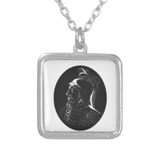 Vasco Nunez de Balboa Conquistador Woodcut Silver Plated Necklace