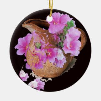 Vase and Flowers Round Ceramic Decoration