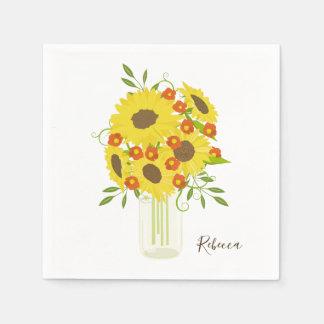 Vase full of sunflowers disposable serviette
