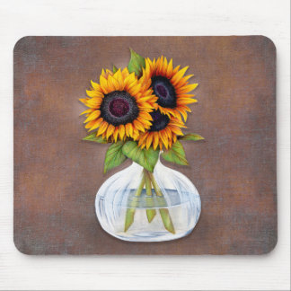 Vase of Beautiful Sunflowers on Rustic Brown Mouse Pad