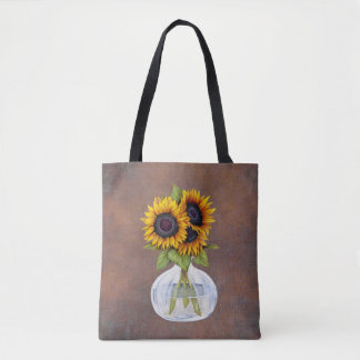 Vase of Beautiful Sunflowers on Rustic Brown Tote