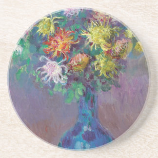 Vase of Chrysanthemums Claude Monet Coaster