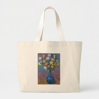 Vase of Chrysanthemums Claude Monet Large Tote Bag