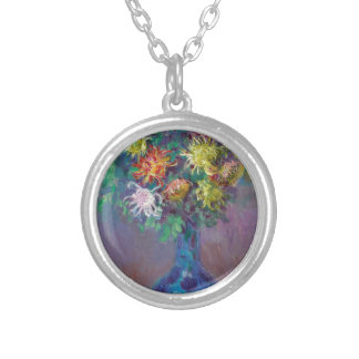 Vase of Chrysanthemums Claude Monet Silver Plated Necklace