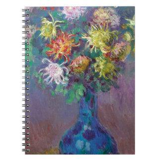Vase of Chrysanthemums Claude Monet Spiral Notebooks