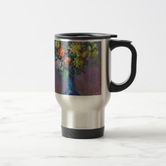 Vase of Chrysanthemums Claude Monet Travel Mug