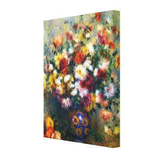 Vase of Chrysanthemums Renoir Fine Art Canvas Print