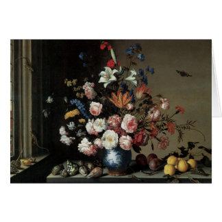 Vase of Flowers by a Window, Balthasar van der Ast Greeting Card