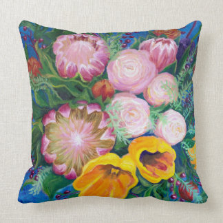 Vase of Flowers -- Proteas, Tulips and Roses Cushion