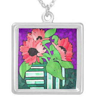 Vase of Pink Flowers Necklace