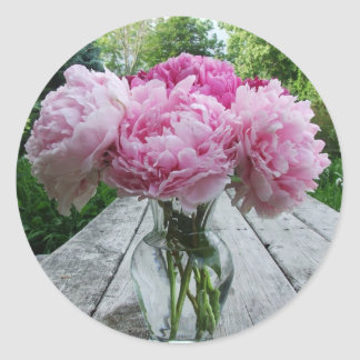 Vase of Pink Peony / Peonies Stickers Labels