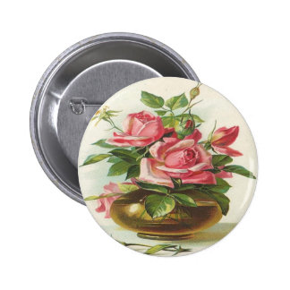 Vase of Pink Roses Buttons