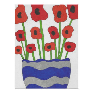 Vase of Poppies Contemporary Art Poster Print