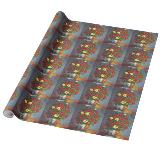 Vase of Red Yellow Flowers Painting Wrapping Paper