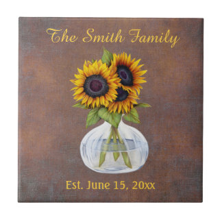 Vase of Sunflowers on Brown Family Name Date Est. Ceramic Tile