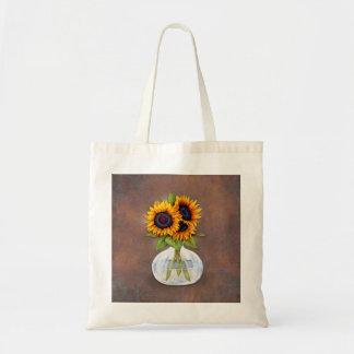 Vase of Sunflowers on Brown Rustic Tote Bag