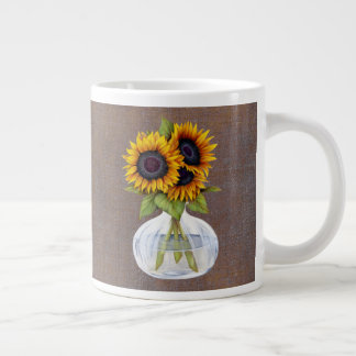 Vase of Sunflowers on Rustic Brown Mug