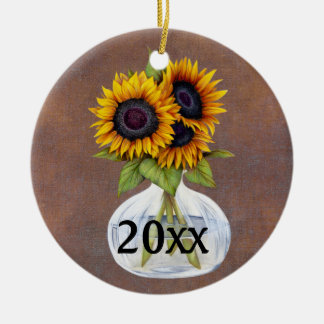 Vase of Sunflowers on Rustic Brown Year Ornament