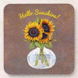 Vase of Three Beautiful Sunflowers on Brown Coaster