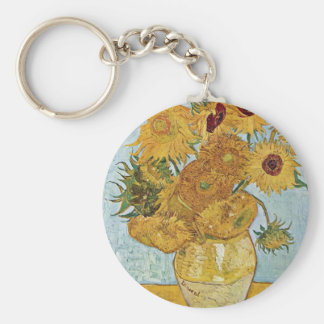 Vase With 12 Sunflowers By Vincent Van Gogh Key Ring