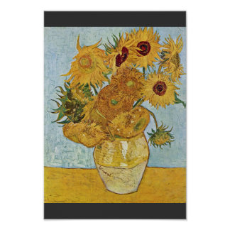 Vase With 12 Sunflowers By Vincent Van Gogh Poster