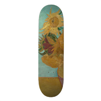 Vase with 12 Sunflowers by Vincent Van Gogh Skateboard