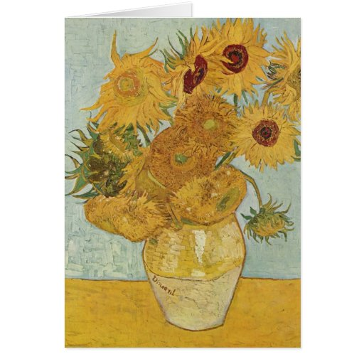 Vase with 12 Sunflowers - Vincent Van Gogh (1888) Greeting Cards