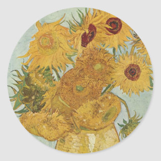 Vase with 12 sunflowers Vincent Van Gogh Classic Round Sticker