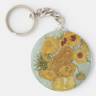 Vase with 12 sunflowers Vincent Van Gogh Key Ring