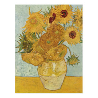 Vase with 12 sunflowers Vincent Van Gogh Postcard