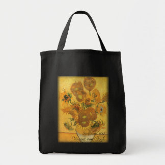 Vase with 15 Sunflowers by Van Gogh Vintage Flower Canvas Bags