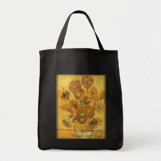 Vase with 15 Sunflowers by Van Gogh Vintage Flower Grocery Tote Bag