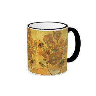 Vase with 15 Sunflowers by Van Gogh Vintage Flower Mugs