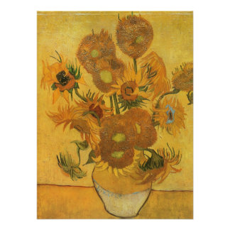 Vase with 15 Sunflowers by Van Gogh Vintage Flower Poster