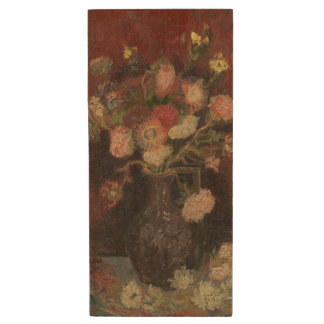 Vase with Chinese Asters and Gladioli by Van Gogh Wood USB 2.0 Flash Drive
