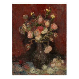 Vase with Chinese Asters and Gladioli by Van Gogh Postcard