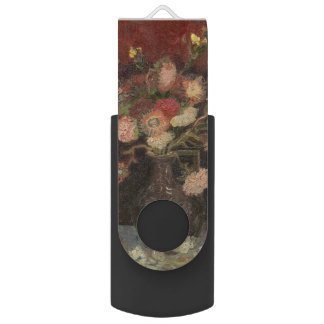 Vase with Chinese Asters and Gladioli by Van Gogh Swivel USB 2.0 Flash Drive