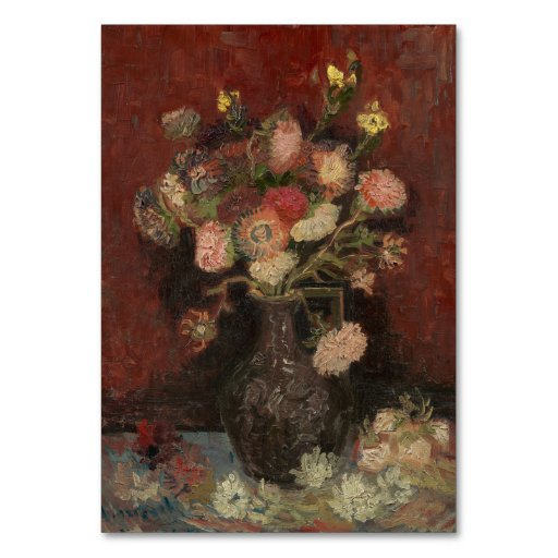 Vase with Chinese Asters and Gladioli by Van Gogh Table Card