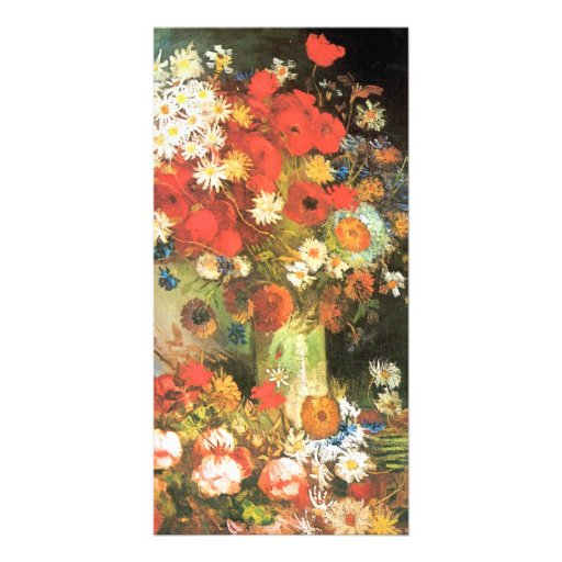 Vase with cornflowers and poppies by van Gogh Custom Photo Card
