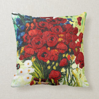 Vase with Daisies and Poppies Throw Pillow