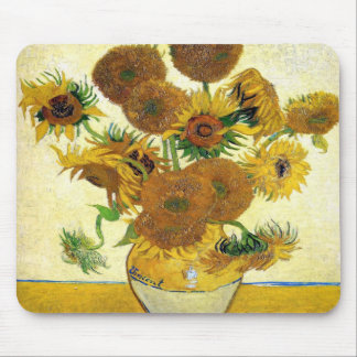Vase With Fifteen Sunflowers By Vincent Van Gogh Mouse Pads