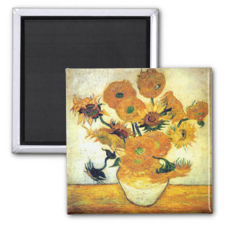 Vase with Fifteen Sunflowers by Vincent van Gogh Square Magnet