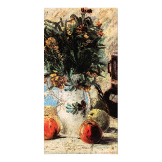 Vase with Flowers Fruits Coffeepot by van Gogh Customized Photo Card