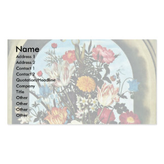 Vase With Flowers In A Window. Met, Business Card Template