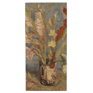 Vase with Gladioli and Chinese Asters by Van Gogh Wood USB 2.0 Flash Drive