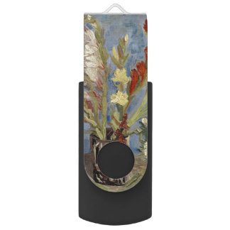Vase with Gladioli and Chinese Asters by Van Gogh Swivel USB 2.0 Flash Drive