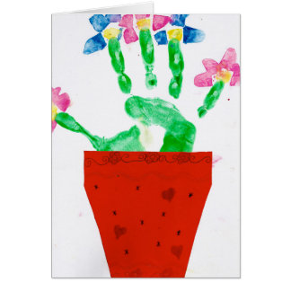 Vase with hand flower card