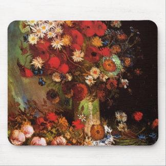 Vase with Poppies, Cornflowers, Peonies - van Gogh Mousepad