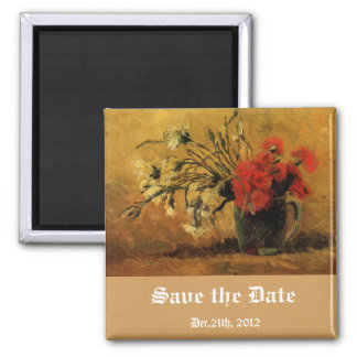 vase with red and white carnations, save the date magnet
